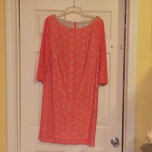 Coral, beige lined dress